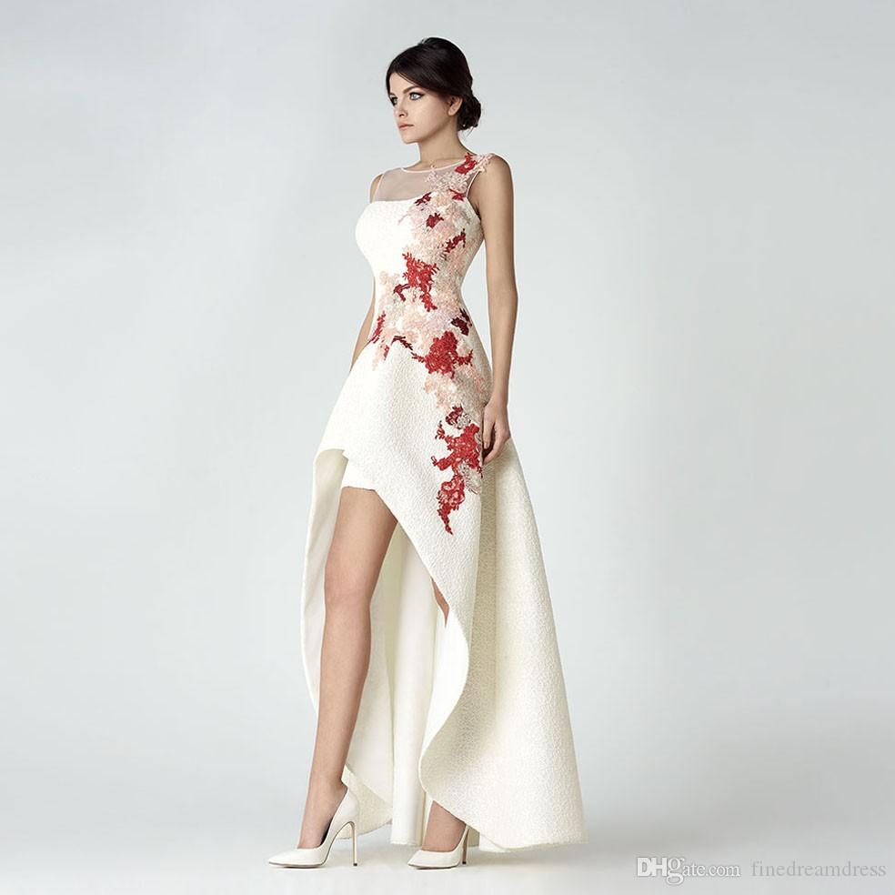 Элегантные кружева с круглым вырезом Длинные вечерние платья Кружева Аппликация Высокий низкий развертки поезд Официальные платья выпускного вечера