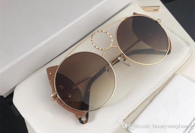 148 Yeni Özellikle UV Korumalı Güneş Gözlüğü Kadınlar için Vintage Yuvarlak Metal Çerçeve Modeli Perçinli Popüler En Kaliteli Case Ile Gel