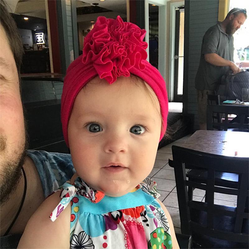 1PCS del florista de diadema niño recién nacido del niño del cabrito del bebé del Bowknot del turbante de algodón suave de la gorrita tejida de la foto de los apoyos