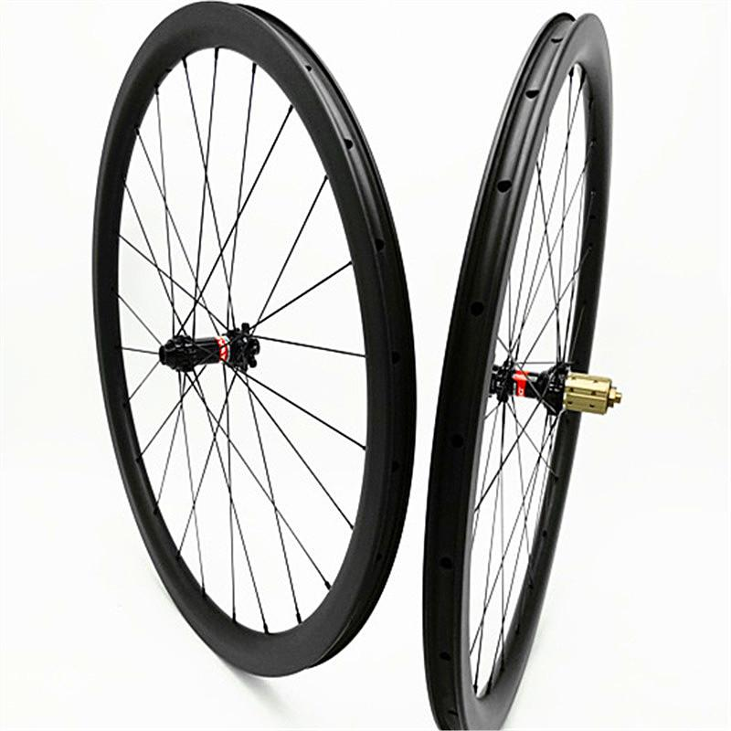 700c carbon road disc wheels clincher tubeless 38mm disc bicycle wheelset 100x15 142x12 Disc brake 1580g carbon wheels 3k UD
