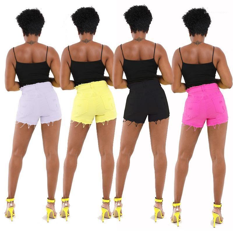 Ropa de mujer 20SS diseñador de las mujeres de los pantalones vaqueros atractivos de la manera Distrressed de la borla de la cremallera de la mosca de talle alto Jean Shorts Casual