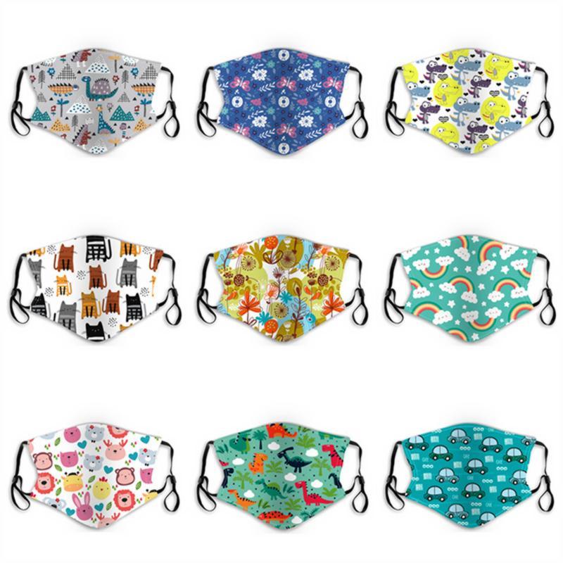 Mode für Kinder Gesichtsmaske Cartoon Blumendruck Kind Anti-Staub PM2.5 Baumwolle Gesicht im Freien waschbar atmungsaktive Schutzmasken Maske Besten