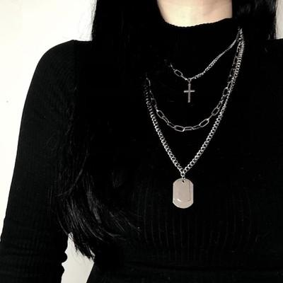 Cross Square Multilayer Pendant Necklace Hip Hop Long Chain Metal Cool Simple Charm Necklace for Women Men Punk Statement Party Jewelry