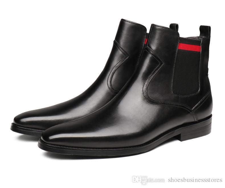 Café oscuro de la moda Negro / punta estrecha botas para hombre vestido de botas de cuero genuino botas masculino tobillo