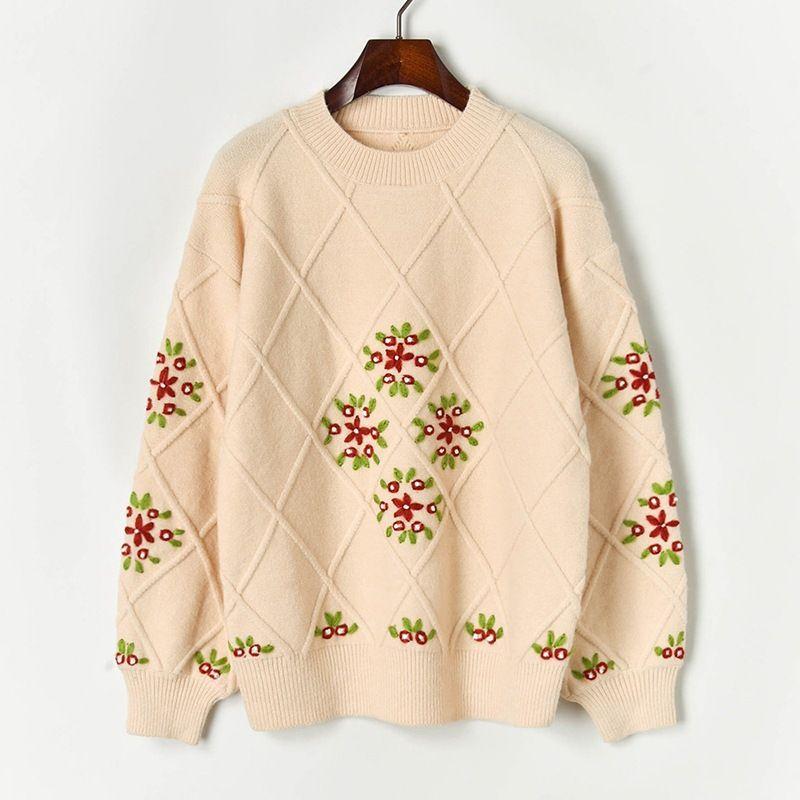 N14 2019 Осень Зима Хаки Colorblock Вязаная Вышивка пуловеры свитер с длинным рукавом Экипаж шеи Мода Свитера X10S91042