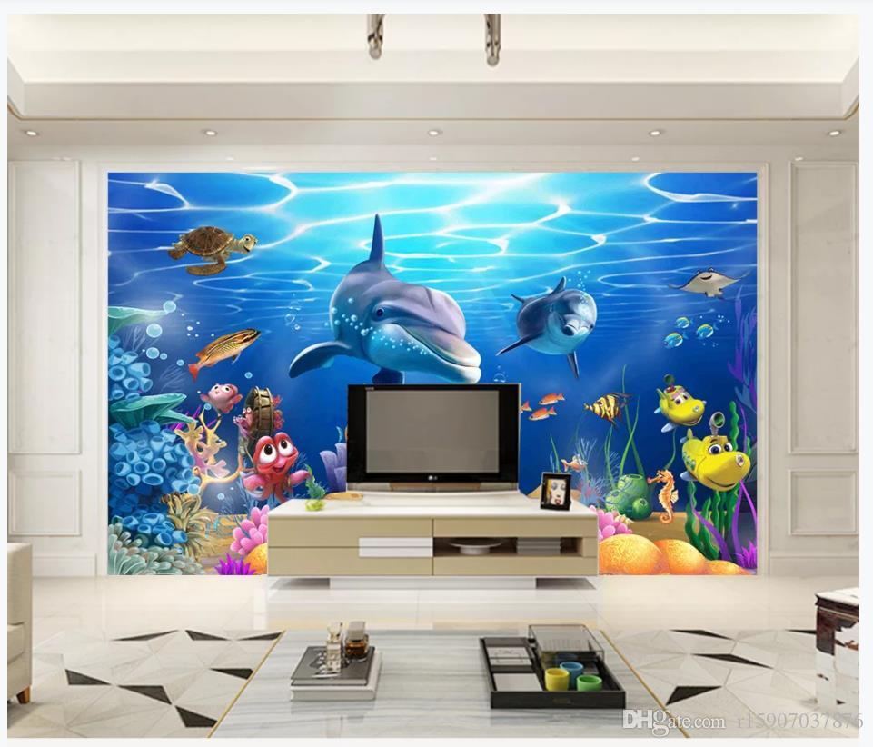 Personalizado Foto 3D Mural de seda Papel tapiz Decoración interior 3D submarino mundo submarino peces tropicales TV fondo de pared