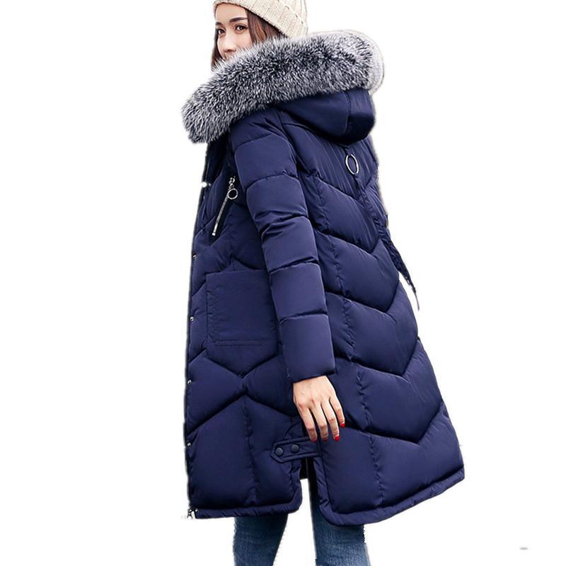 Plus Size Große Pelzkragen mit Kapuze Winter-Parka Weiblichen Baumwollbeiläufiges Fashion Mantel-Oberbekleidung Red wattierte Jacken Thickening2909