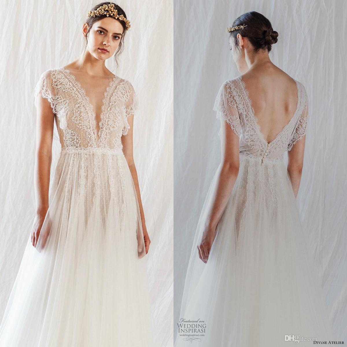 Atelier divino 2019 vestidos de noiva bohemia lace v neck cap manga backless praia boho vestidos de noiva plus size robe de mariée