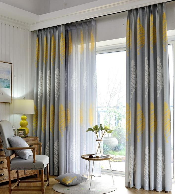 Sombra moderno de las hojas impresas Cortinas Sheer cortinas del dormitorio de la pantalla de la sala de tul grueso ventana cortinas