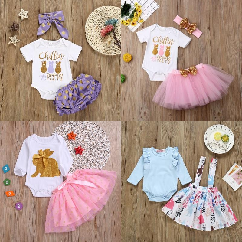 UK Newborn Baby Girls Easter Bunny Tops Romper Tutu Skirt Dress Outfits Set gfee