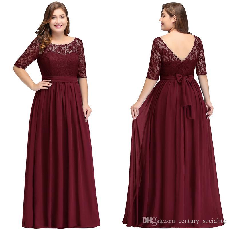 플러스 사이즈 신부 드레스 슬리브 A 라인 레이스 시폰 스쿠프 지퍼 바닥 길이 지퍼 이브닝 드레스 긴 공식 가운 2019