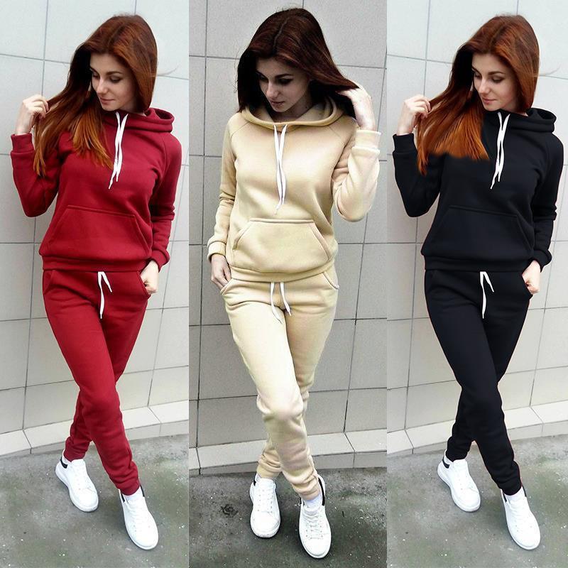 Mulheres Esporte Treino velo moletom com capuz Calças 2 duas peças mulher Set Outfit Womens Casual Sweat Suits sweatsuits roupa