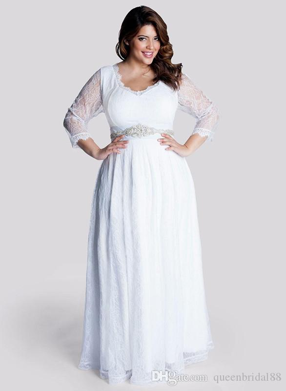 2019 Lace Plus Size Wedding Dresses with Beaded Sash Long Sleeves Maternity Formal Dress for Bride