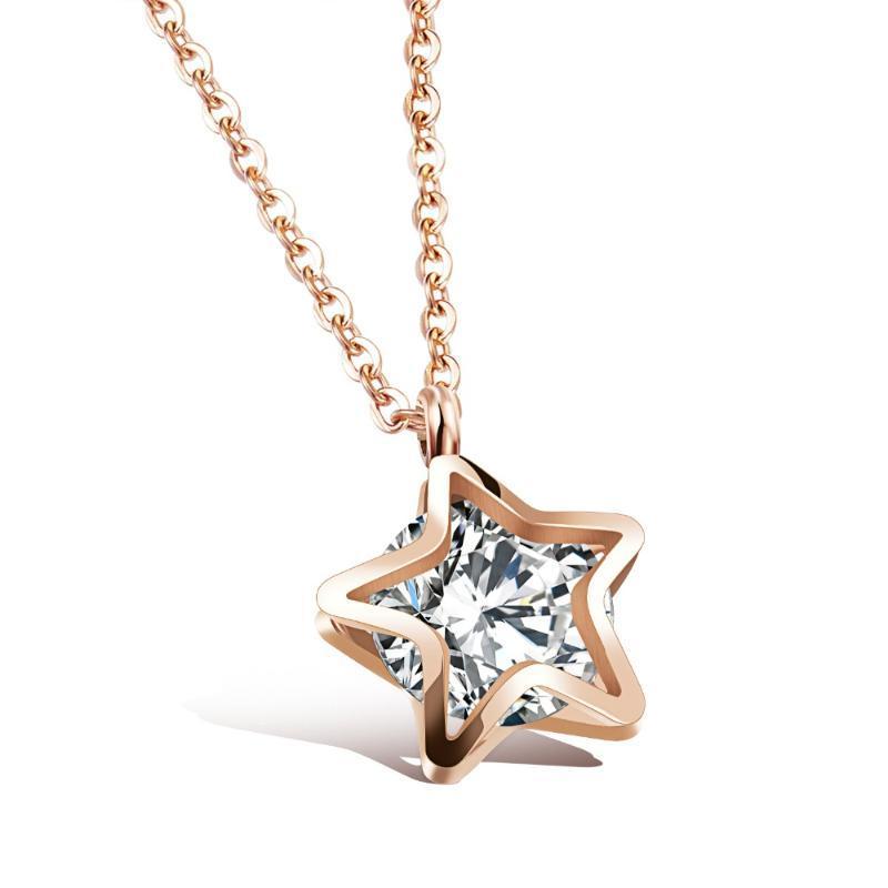 titânio de aço de cinco estrelas subiu senhoras de ouro clavícula colar dupla estrela de cinco pontas clipe de pingente de cristal 3-GX1083