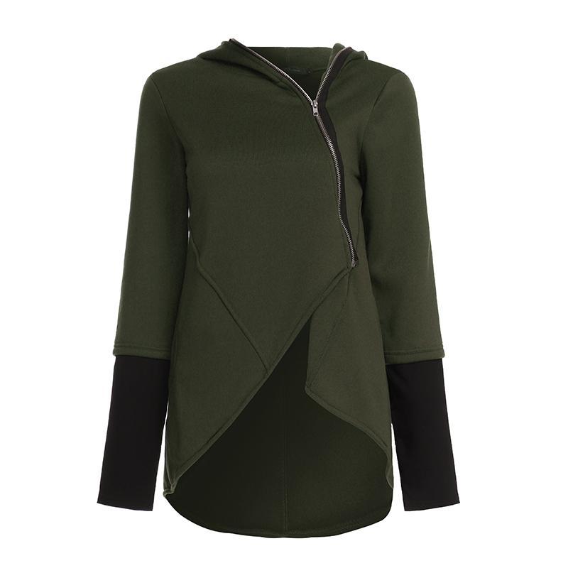 ZANZEA 2020 Vintage Kadınlar Kapüşonlular Düzensiz Hem Katı Kapşonlu Casual Dış Giyim Coats Fermuar Up Sweatshirt Ceket Plus Size 5XL