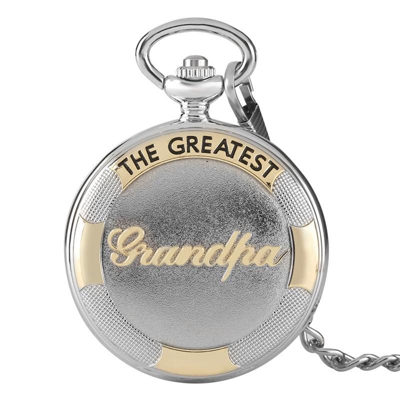 Vintage 3D The Greatest Grandpa Pocket Watch Script Speciale Orologio a pendolo per regali unici del Ringraziamento Reloj De Bolsillo