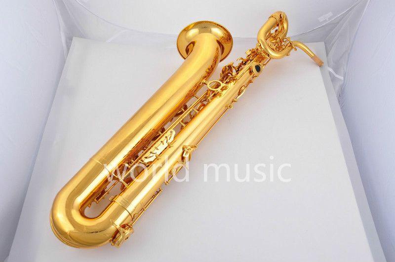 Vaka Ücretsiz Kargo ile Markasız Yüksek Kaliteli Bariton Saksafon Can özelleştirme Logo Pirinç Gövde Altın Vernik Yüzey Müzik Aletleri