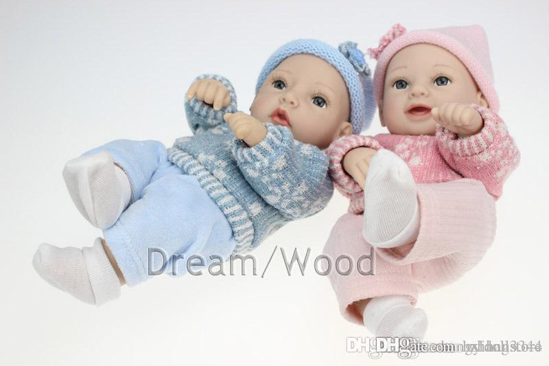 кукла 28см Моделирование мини ручной работы кукла полный силиконовые возрождается кукла ребенка праздник подарки