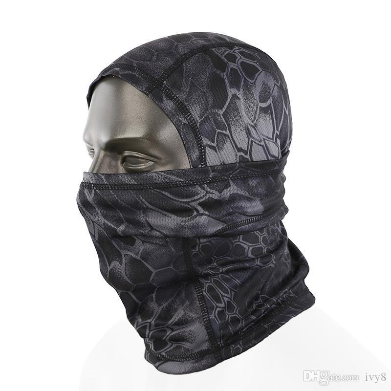 Casco táctico al aire libre a prueba de polvo máscara de respiración pasamontañas cara camuflaje Sombrero Airsoft Caza Ciclismo Gorros motocicleta Cap Capucha completa