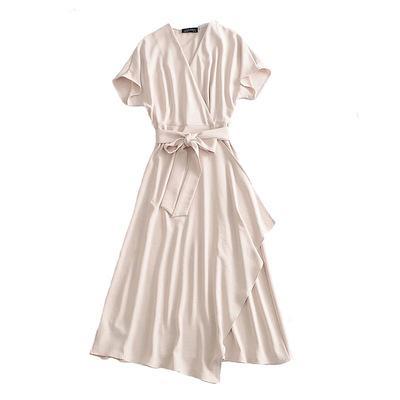 슬래시 짧은 소매 사무실 숙녀와 2020 패션 여성 고체 베이지 색 우아한 드레스는 미디 드레스 vestidos 3A30 작업