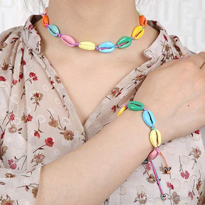 Мода женщина Красочной Shell Choker Boho Природных Seashell Браслет Lady Пляж Раковина ювелирные изделия партия фестиваль подарки LJJ_TA1278