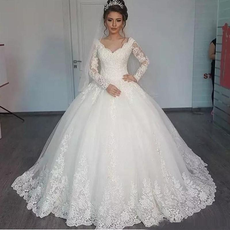 Off Shoulder Long Sleeves Applique Floor Length Wedding Bridal Gowns Custom Made New Lace Wedding Dresses robe de soiree longue