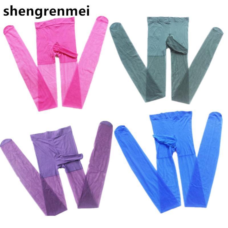 Shengrenmei 2019 مثير سيسي الوثن انظر من خلال جوارب جوارب شير مع إغلاق المنشعب غمد غريبة الملابس الداخلية 8 الجوارب اللون