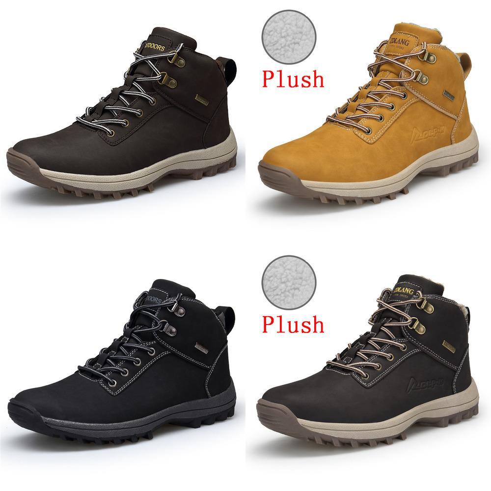 MIXIDELAI manera a estrenar de la PU de cuero de los hombres botas de los hombres cómodos tobillo de los zapatos zapatos de los cargadores calientes de peluche corto invierno Hombres 39 ~ 46
