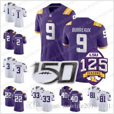 Men/'s Joe Burrow #9 LSU Tigerers Football Purple T-shirt M-XXXL