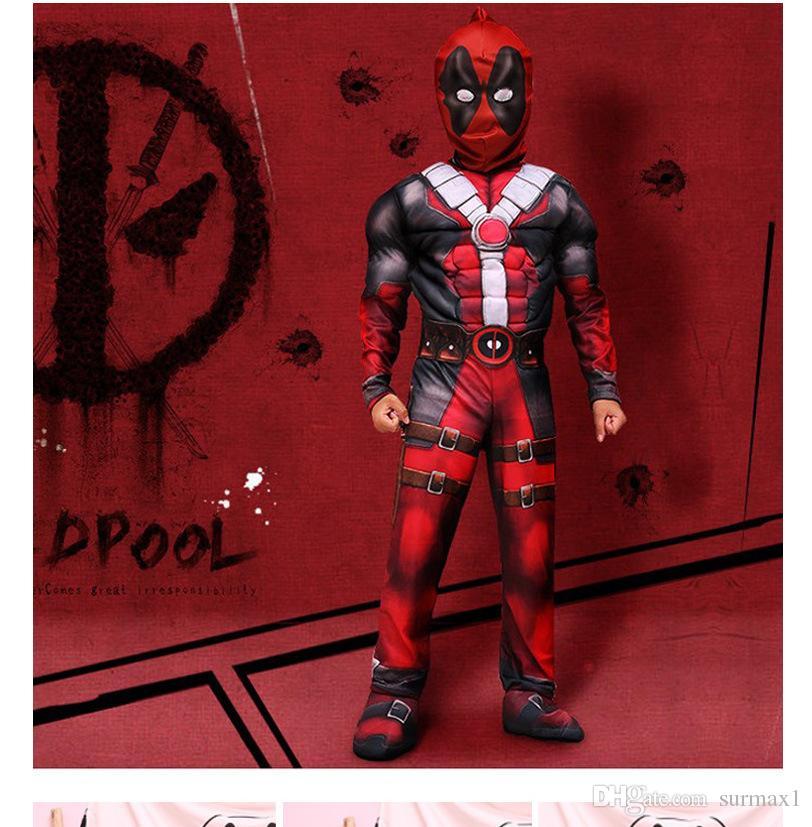 2019 Free shipping Hot Marvel Halloween Cosplay Full Body Deadpool Costume Digital Print Kids Deadpool Cosplay