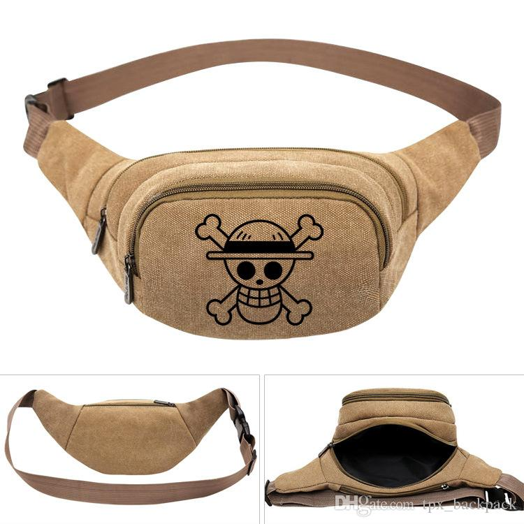 قطعة واحدة waistpacks القرد d لوفي الخصر حقيبة جيدة الكرتون حزام الجانب حزم الكاكي اللون قماش بوم جيب outdoor الرياضة waistbag