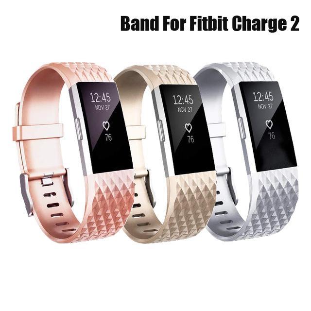 earable Smart Devices Accessoires intelligents Bracelet de montre pour Fitbit Charge 2 Correa Rose Gold / Silver Band silicone poignet Replacment Bracelet ...