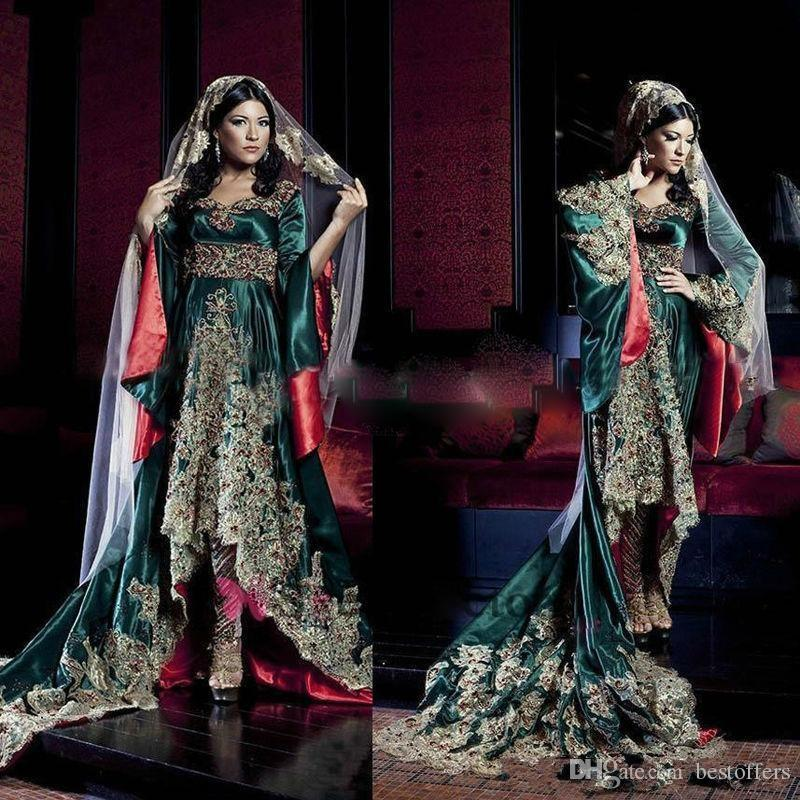 Dark Green Inde Robe Arabie Saoudite Manches longues Sweetheart Robes de soirée Hunter Green avec Dentelle Appliques Robes de soirée musulmanes