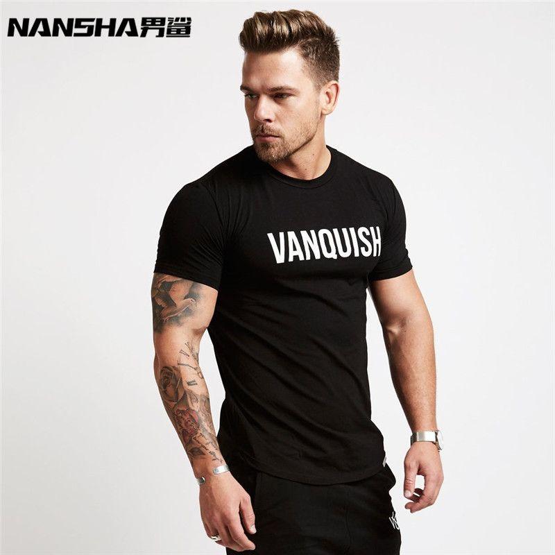 2019 Nouveau Design Marque Lettre de couleur solide Fitness Gymnastique Chemise T-shirt À Manches Courtes T-Shirt Couleur Unie Séchage Rapide Fitness