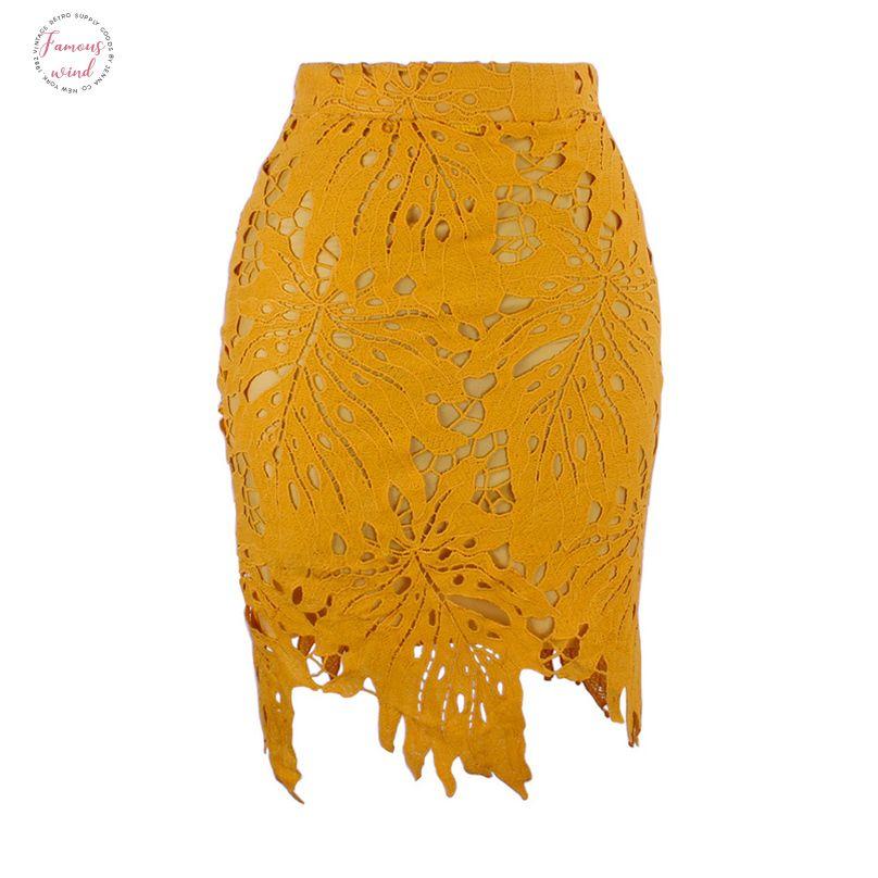 Folha Forma Forro Lace Zipper de Slim Pencil Skirt para a mulher Verão Sexy A Linha Bodycon Office Lady saia amarela