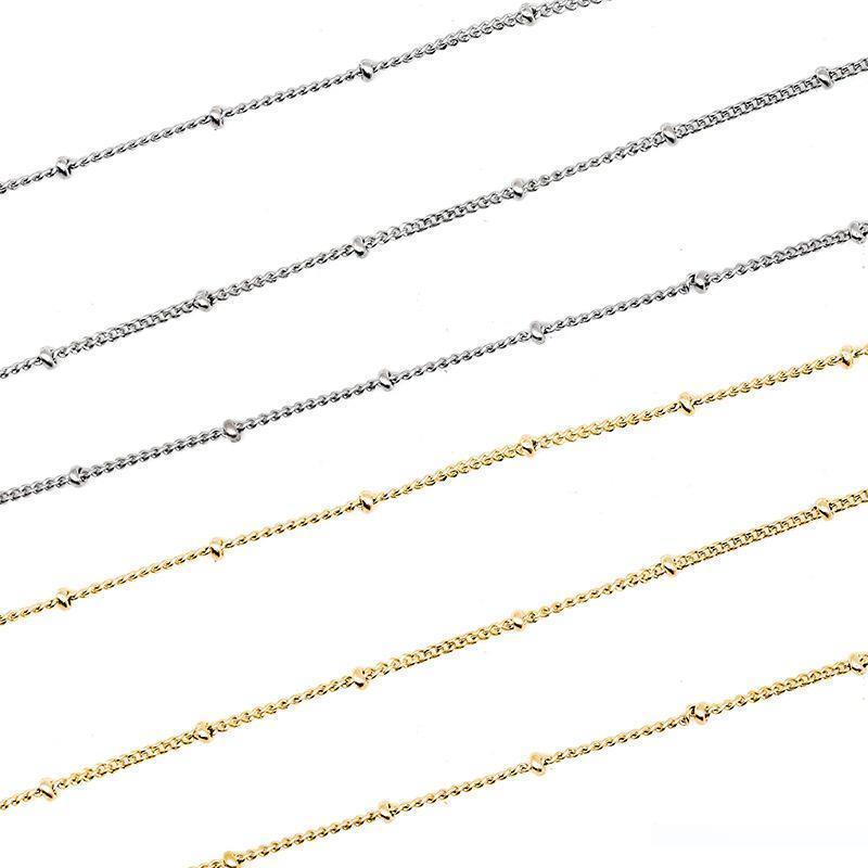 Acero inoxidable Plata Oro conexión de cadena por la joyería que hace 1.5 cadena de metal con los granos por 5 metros Cadenas Por Metros 5m mayorista
