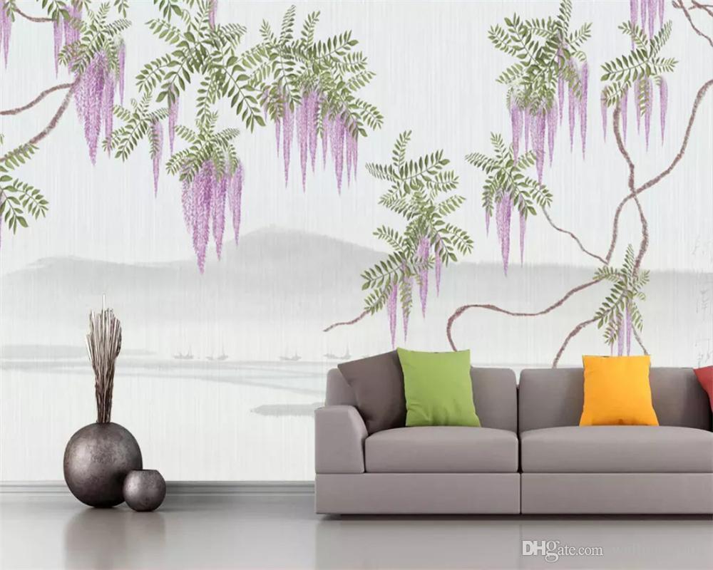 Özel duvar kağıdı yeni Çin el-boyalı wisteria çiçek ağacı TV arka plan duvar dekoratif paintingpapel de parede duvar kağıtları ev dekor