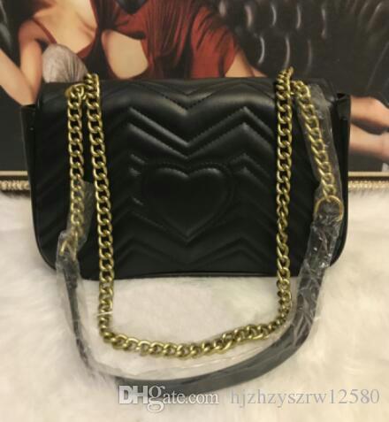Bolsos de hombro de las mujeres de alta calidad Classic Pu cuero Marmont estilo del corazón 26 cm cadena de oro bolso bolso de asas bolsos de mensajero L00849