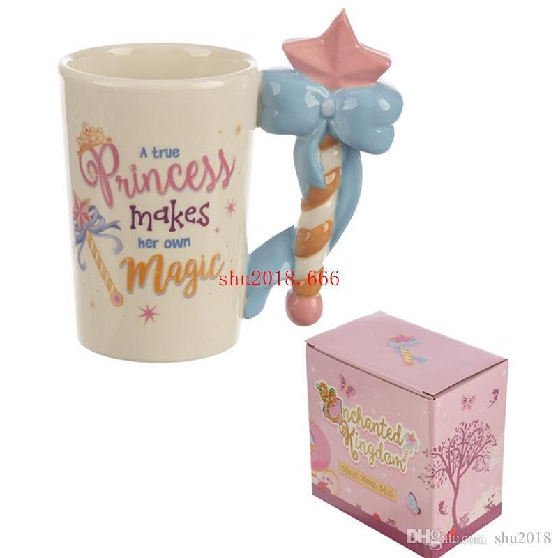 3D three-dimensional painted ceramic scepter handle cup cute girl heart ceramic water cup coffee cup
