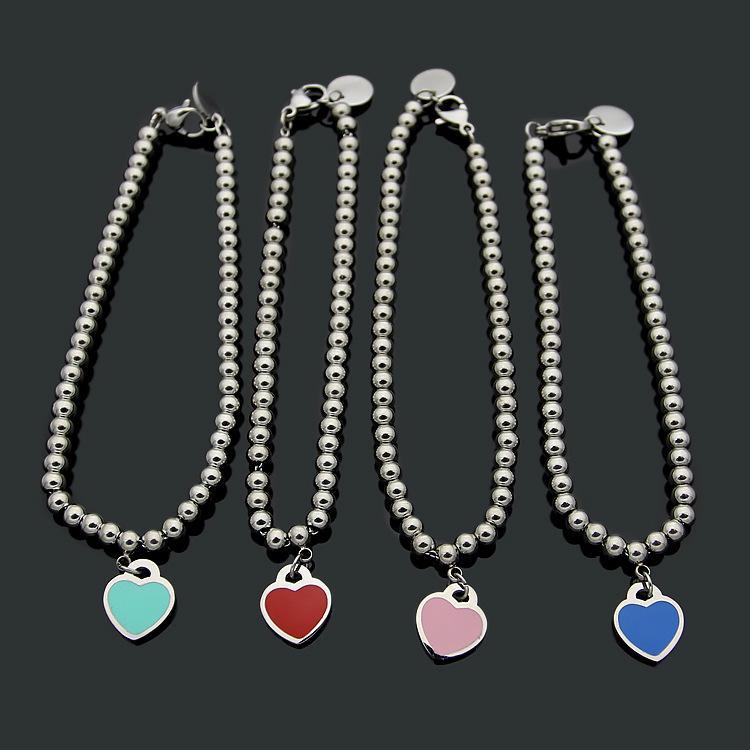 Pulsera colgante de corazón para la joyería pulsera de las mujeres platinados goteo del aceite Adecuado para pulseras regalo de San Valentín