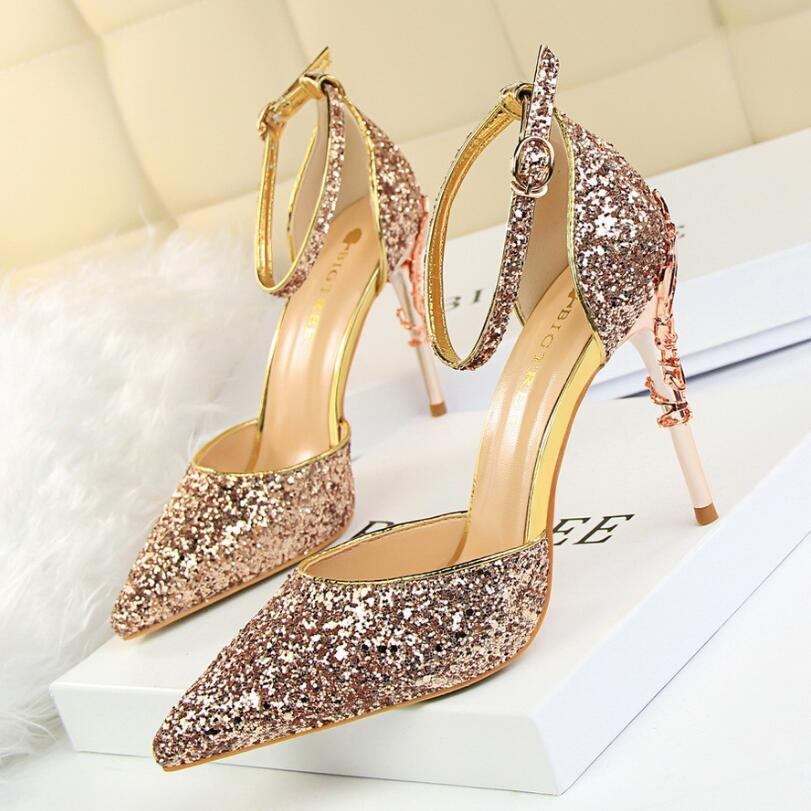 Designer Womens Shoes Glitter Pointed Toe High Heels 7.5CM Ankle Strap Stiletto Sandals Fashion Ladies Formal Wedding Party Prom Dress Shoes