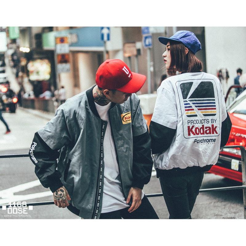 일본 힙합 스타일 폭격기 재킷 하라주쿠 파일럿 거리 인쇄 코닥 자켓 남자 여자 코트 브랜드 의류 겉옷