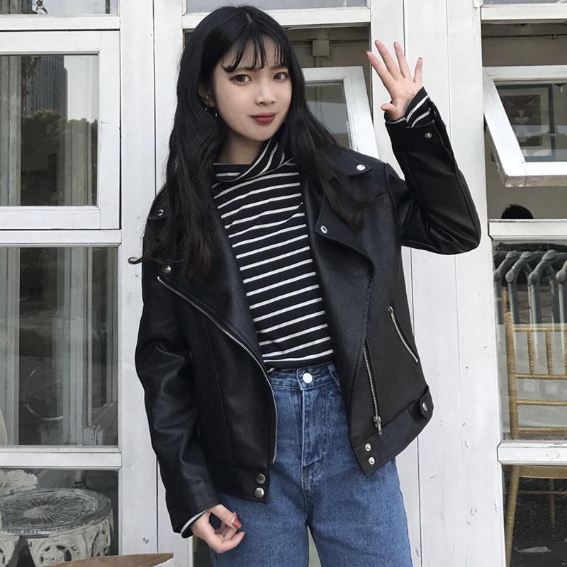 2019 nova moda primavera outono mulheres pu casaco de couro plus size manga longa estudante jaqueta de couro curto das mulheres cc703