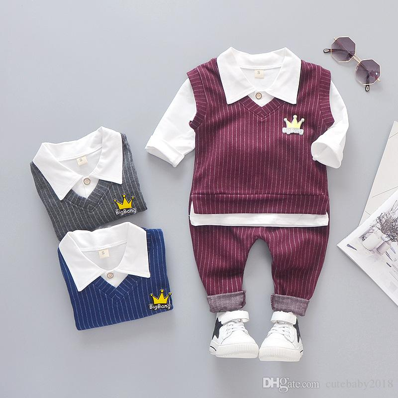 designer boy baby stripe clothes 2019 new kids toddler clothes children long sleeve crown turn-down collar spring clothing set tops + pants