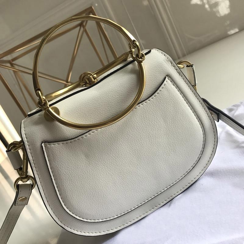 Designer-clássico feminino bolsa ombro retro bolsa messenger metal brilho couro balde saco famoso designer anel senhoras marca wgtre