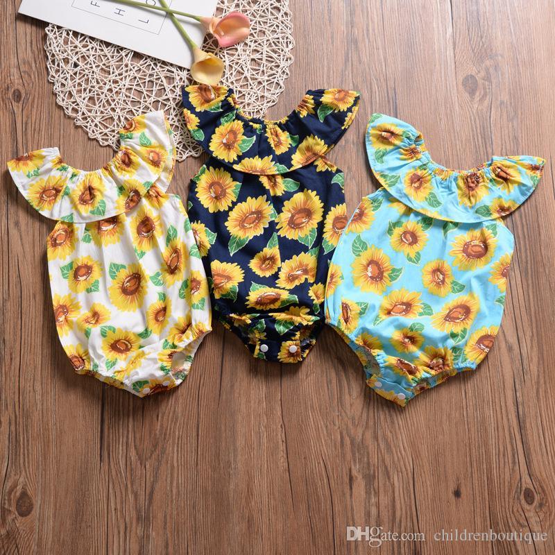 Kids Clothes Girls 2019 New Flower Newborn Baby Romper Infant Girls Jumpsuit Sunflower Playsuit Summer Children Baby Girls Clothes