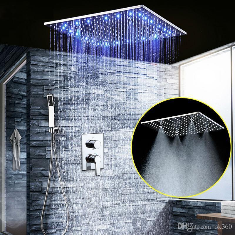 """Ванная комната светодиодный душ набор 20 """"встроенный RBG потолочный дождевой душевой душ наборы осадков 3 стружки скрыты панель для ванны SUS304"""