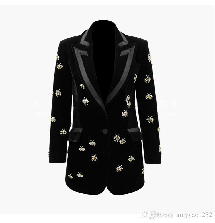 504 XXXL 2019 été marque même style manteau à manches longues col en V bouton solide Blazers luxe Womens vêtements SANMUSEN