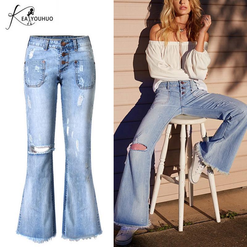 Women Flared Bell Bottom Jeans High Waist Denim Pants Wide Leg Trousers