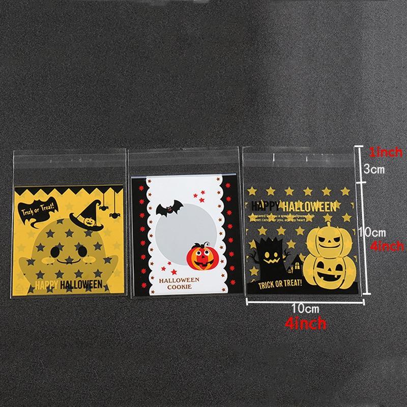 100PCS / 많은 할로윈 사탕 플라스틱 가방 자체 접착 쿠키 가방 구워 쿠키 비스킷 플라스틱 가방 호박 식품 포장 가방 VT0569 인쇄하기
